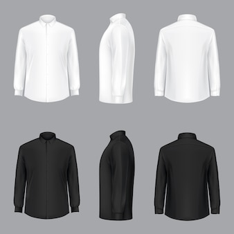 White male shirt with long sleeves and buttons