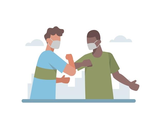 Белый мужчина и темнокожий мужчина пожимают руки локтем на иллюстрации пандемии коронавируса