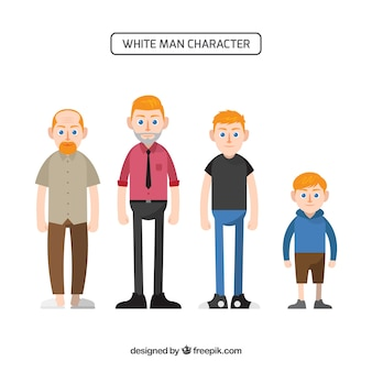 Персонаж белого человека в разном возрасте