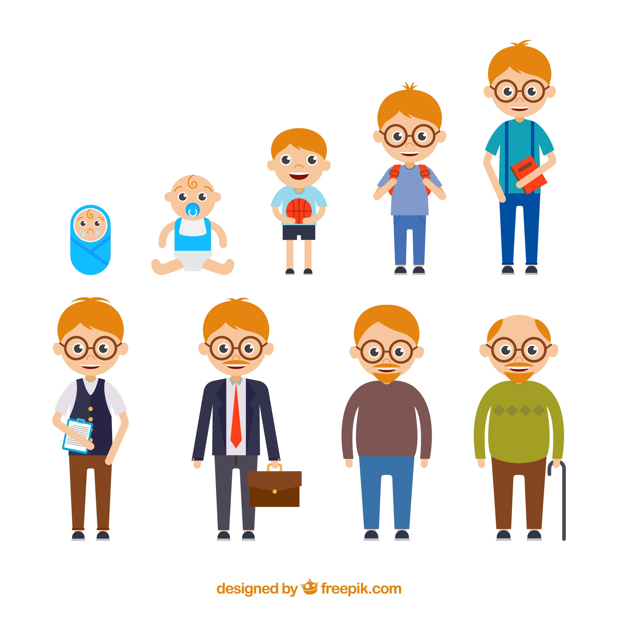White man in different ages with flat design
