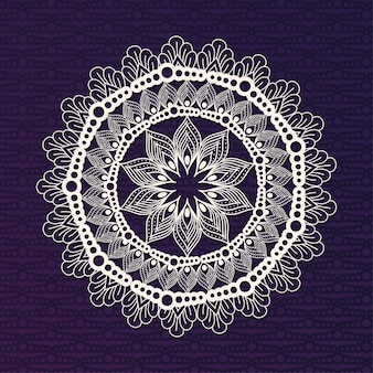 White mandala on dark purple background design of bohemic ornament