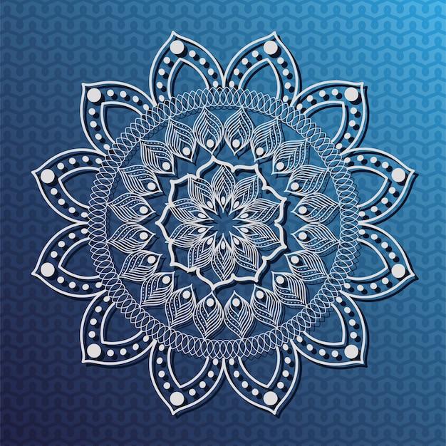Белая мандала на синем фоне дизайн богемского орнамента