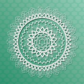 Белая мандала на зеленом фоне богемского орнамента