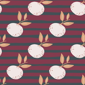 White mandarin silhouettes seamless pattern in hand drawn style. purple and pink striped background.