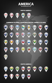 Белые маркеры карты с флагами - северная и южная америка, карибские острова, страны, острова центральной америки.