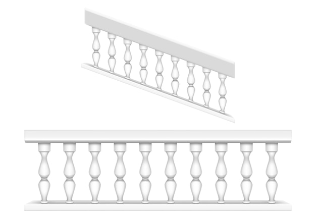 White marble balustrade for balcony, porch or garden and handrail for staircase in classic roman style. realistic set of baroque stone railing, banister with pillars, antique fence with columns