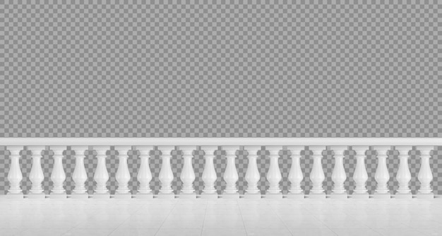 バルコニーまたはテラス用の白い大理石の欄干