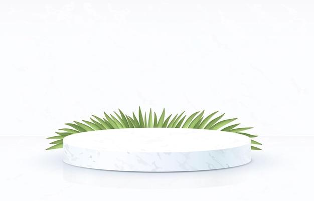 White marble podium with grass on white