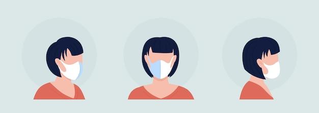 흰색 마스크 착용자 세미 플랫 컬러 벡터 캐릭터 아바타 세트입니다. 전면 및 측면 보기에서 인공 호흡기와 초상화입니다. 그래픽 디자인 및 애니메이션 팩을 위한 격리된 현대 만화 스타일 그림