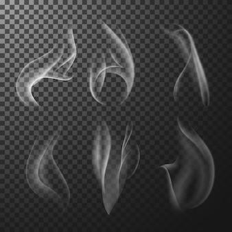 Белый спичечный дым на прозрачном фоне
