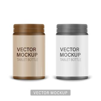 スナップヒンジ付きの白いマットプラスチックボトルは、薬、錠剤、錠剤用のキャップを押します。サンプルデザインの写実的なパッケージングテンプレート。正面図。