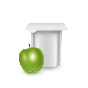 The white matte plastic pot for yogurt cream dessert or jam   packaging   template yogurt cream with fresh apples isolated