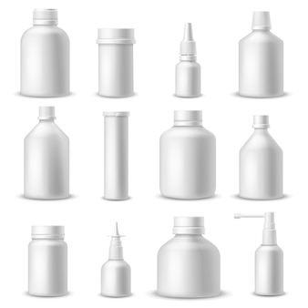 White medical bottles. realistic blank plastic pharmaceutical packaging.