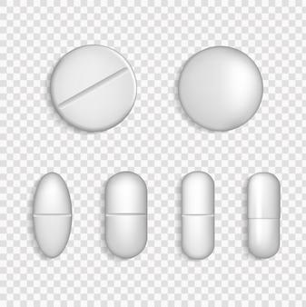 白い医療薬アイコンセットクローズアップ透明グリッドの背景に分離されました。 3d医薬品、薬のカプセルとビタミン、ヘルスケア薬局のタブレット。