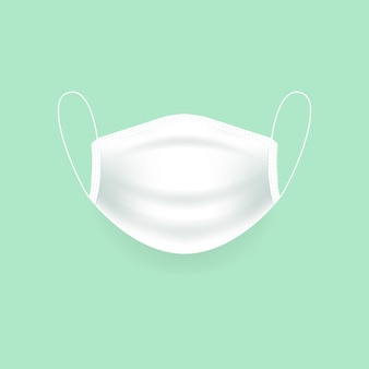 White medical protection mask, surgical mask, virus and infection protection.