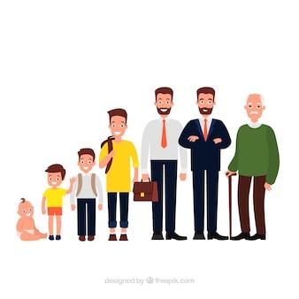 Коллекция белых мужчин в разном возрасте