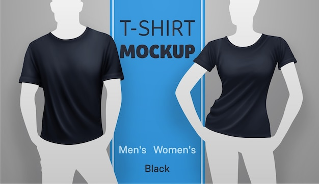 White men and women t-shirt template. vector realistic illustration