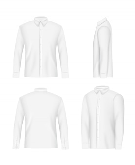 White mens shirt mockup set, vector realistic illustration