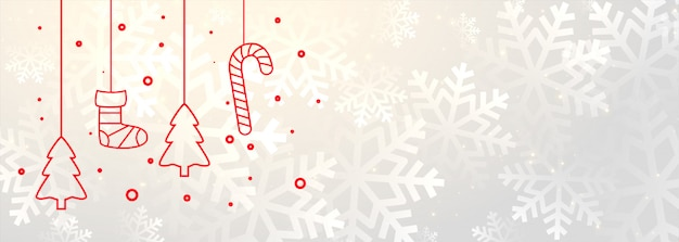 White merry christmas banner with xmas decoration