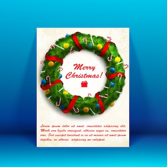 White merry christmas card with wreath image and text field flat illustration