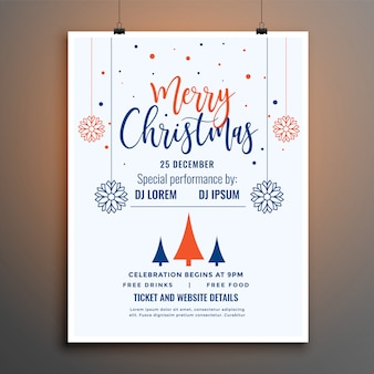 White merry christmas celebration flyer poster template