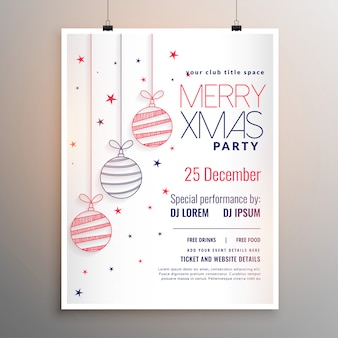 White merry christmas flyer design in line style