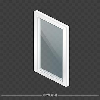 White metal-plastic window with transparent glasses in 3d. Premium Vector