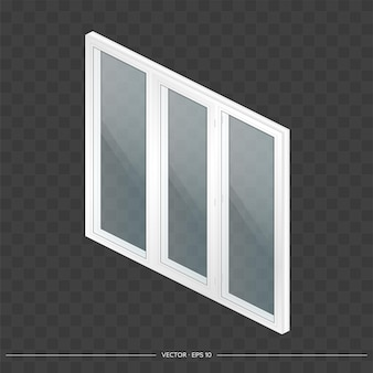 White metal-plastic window with transparent glasses in 3d.