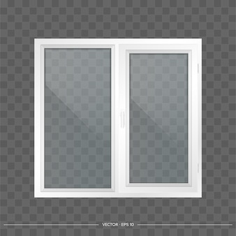White metal-plastic window with transparent glasses. modern window in a realistic style.