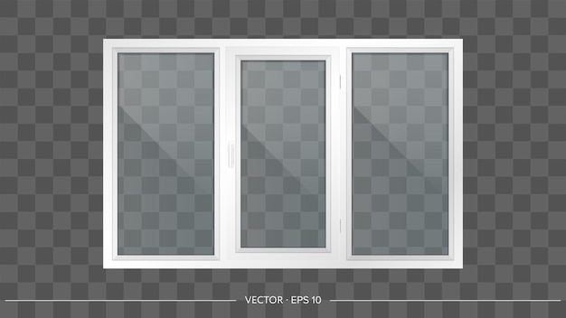 White metal-plastic window with transparent glasses.