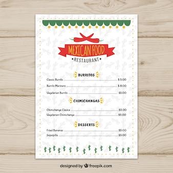 Белый мексиканский шаблон меню еды