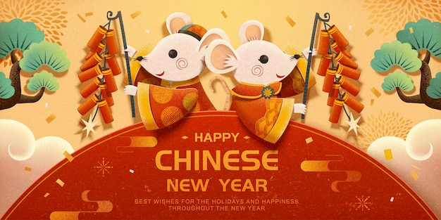 White mice holding firecrackers on beige background in paper art style