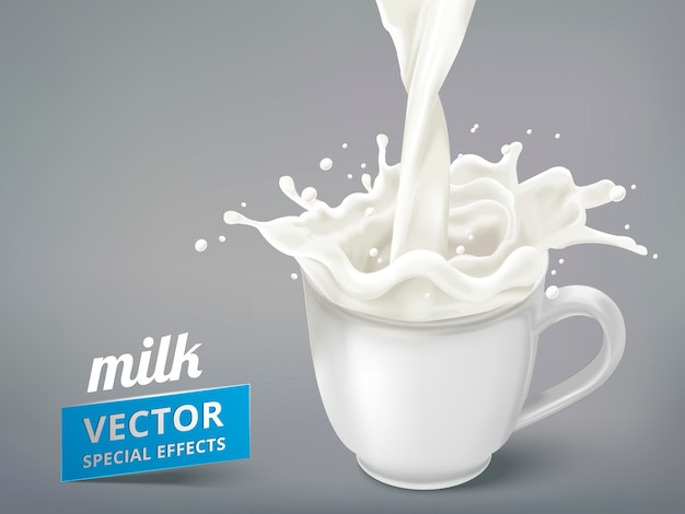 White milk pouring into a blank cup