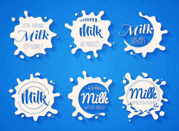 White milk splash blot  set. drink element. vector illustration.