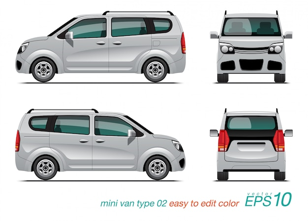 White mini van in differentes views