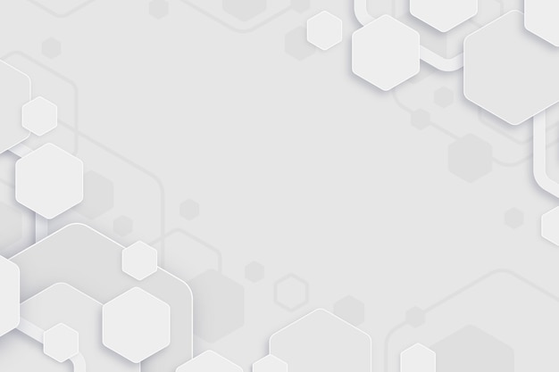 White minimal hexagons background