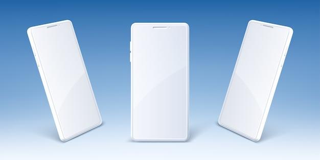 빈 화면 앞에 흰색 휴대 전화 및 투시도. 현대 스마트 폰의 현실적인 모형. 프리젠 테이션 디지털 스마트 장치, 전자 가제트 용 템플릿