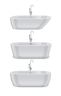 White modern bathtubs of different types and shapes, realistic set double ended and slipper tubs of isolated on white background