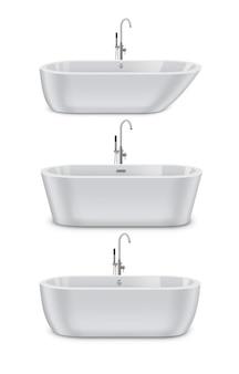 Белые современные ванны разных типов и форм, реалистичный набор двухсторонних и тапочки, изолированные на белом фоне