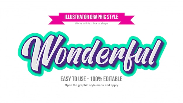 White modern cursive lettering with neon green and purple outline editable text effect