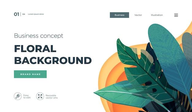 Белый современный дизайн концепции целевой страницы шаблон современной цветочной концепции