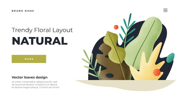 White modern flat design concept landing page template  modern flat floral vector illustration