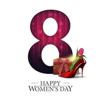 Белая современная поздравительная открытка к женскому дню