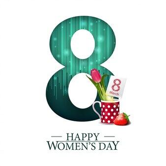 White modern greeting postcard for women's day