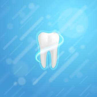 흰색 어금니 포스터 템플릿입니다. 치과 의사 광고, 치약 포스터, 치과 전단지에 대한 그래픽 디자인 요소입니다. 인간의 치아의 현실적인 그림입니다. 벡터 일러스트 레이 션.