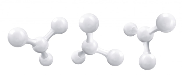 White molecule or atom, abstract clean structure.