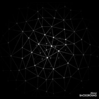 White molecule on black background