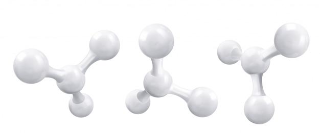 백색 분자 또는 원자, 추상 깨끗한 구조.