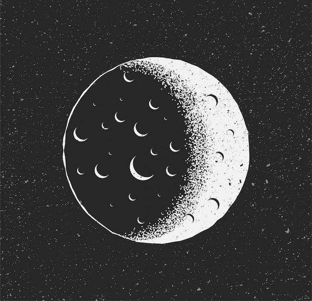 White moon on black starry background. hand drawn sketch vintage styled