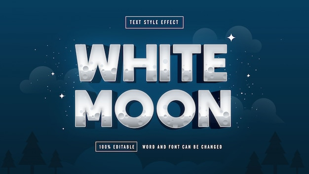 White moon on night text effect free premium download vector